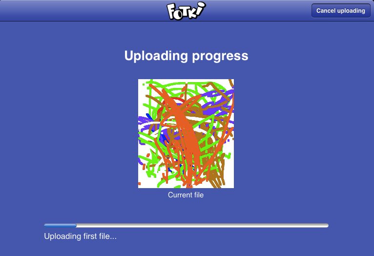 Clearly visible uploading progress