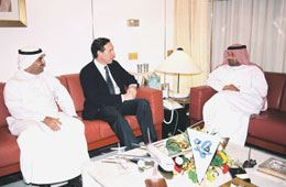 Mohammed Alshaya, CEO of MH Alshaya, Howard Schultz, Chairman, Starbucks Coffee Company and His Highness Sheikh Ahmed Bin Saeed Al Maktoum, President of the Department of Civil Aviation & Chairman of Emirates Group