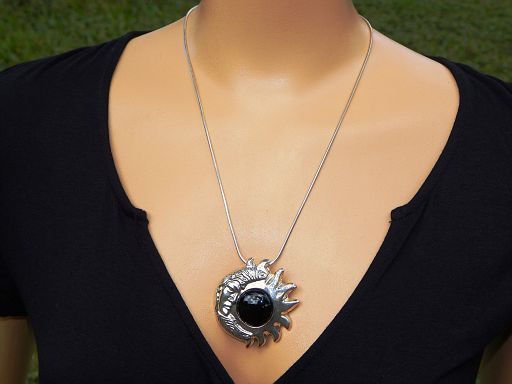"Vintage Taxco Mexico Sun Moon Onyx & Sterling Silver Pendant Brooch with 21"" Necklace"
