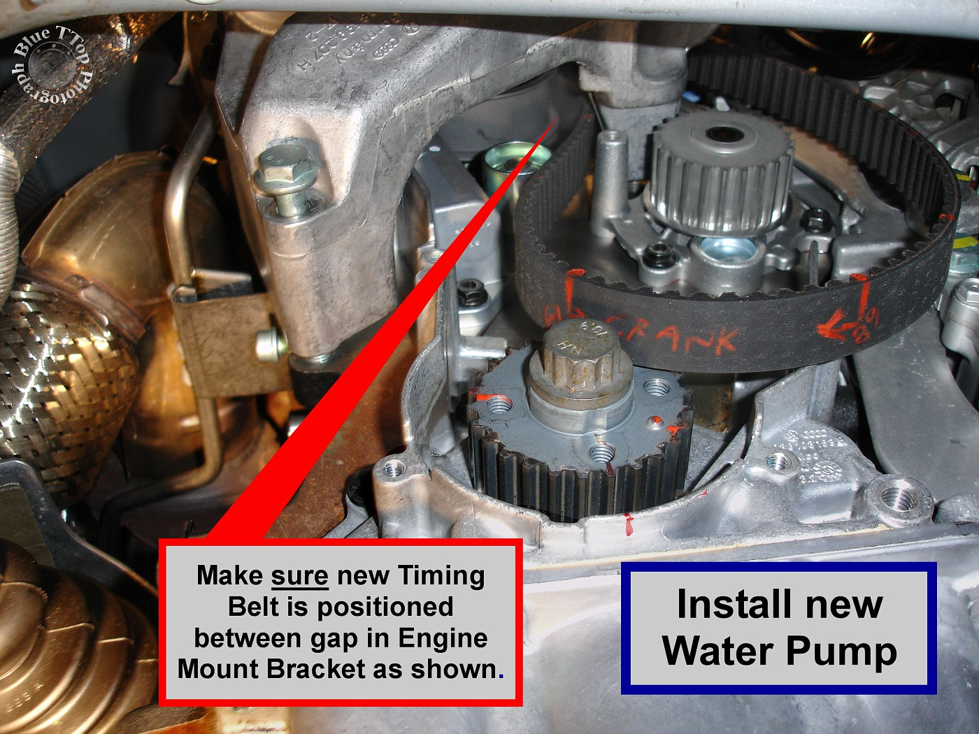 Make sure the O-Ring does not get caught. Install existing 3 Water Pump  bolts (10mm). Tightening torque is listed as as 11 ft-lb. Bentley Manual  page 19-10.