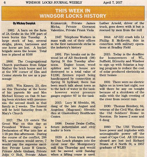 2014-08-01 - MICKEY DANYLUK - THIS WEEK IN WINDSOR LOCKS HISTORY