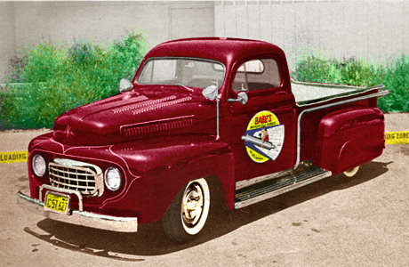Babe Royer's 50 Ford Pickup colorized Actual Color