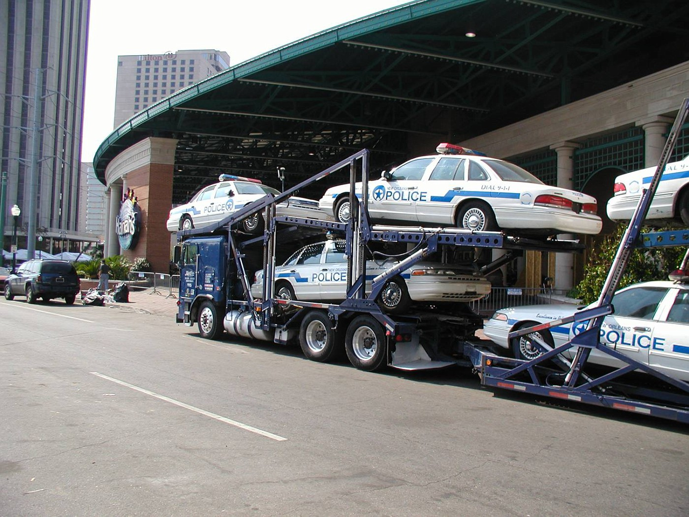 Car Carriers in front of Harrahs