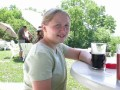 Kelly drinking a (root) beer