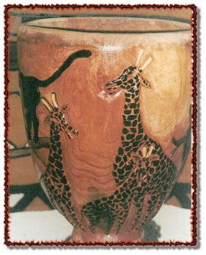 GIRAFFE FAMILY!  The top of a DOUBLE CARVED DJEMBE! $275 including shipping!