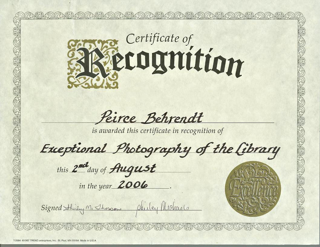 cert of recognition