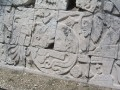 Hieroglyphics in the Ball Court Walls of Chichen Itza, Yucatan Peninsula, Mexico.
