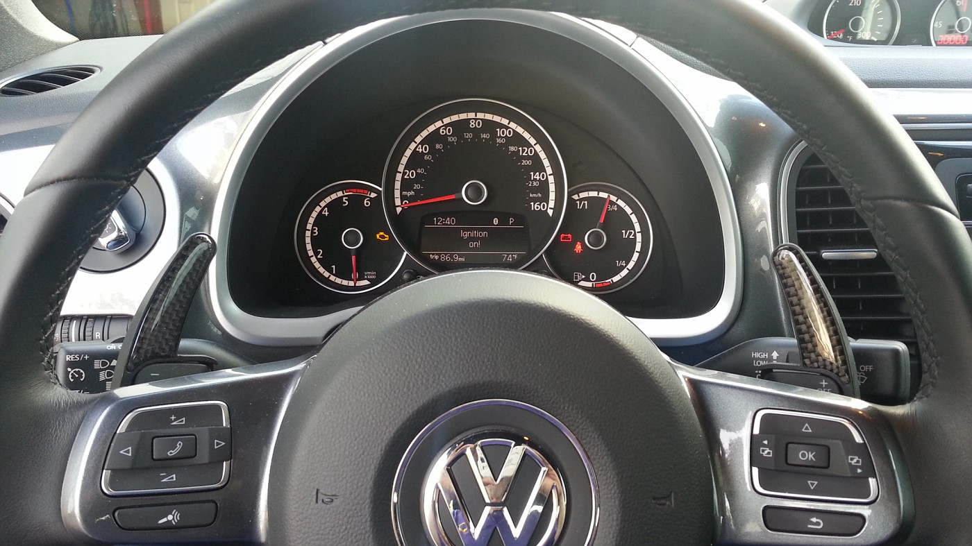 aftermarket dsg paddle shifters vw gti mkvi forum vw golf r since my beetle is a lease and i didn t want to go through the mod de mod hassle i went the cf jobs pictured above happy as a clam