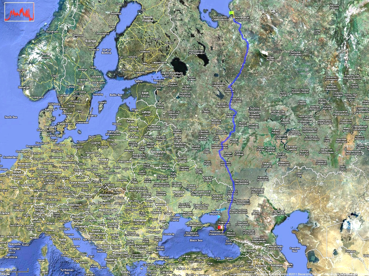 The route - from the White Sea to the Black Sea
