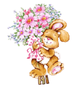 Hi - BunnyWithFlowers