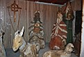 The Christmas Nativity is set up inside one of the buildings.