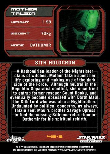 Chrome Perspectives Jedi vs  Sith Refractor #49S (2)