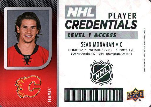 2017-18 MVP NHL Player Credentials Level 1 Access Sean Monahan (1)