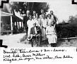 Joseph Candler McBrayer, Georgia Garner McBrayer & Children's Spouses, with IDs. Front row: Joseph Candler McBrayer; Georgia Garner McBrayer. Middle row: Ruth Brooks McBrayer; Bessie Mae Eaves McBrayer; Lovie Durrett McBrayer; Effie Mable Bullock McBrayer