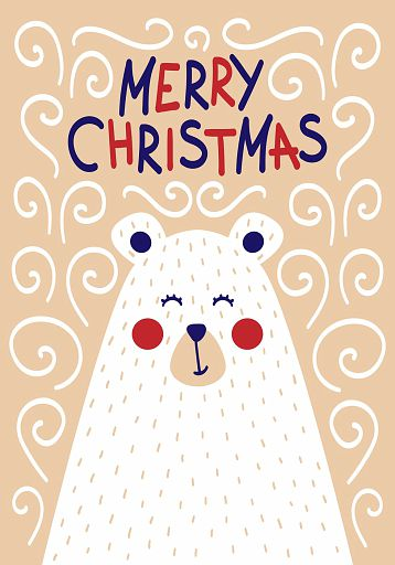 Cute Christmas card with a picture of a bear in a Scandinavian style