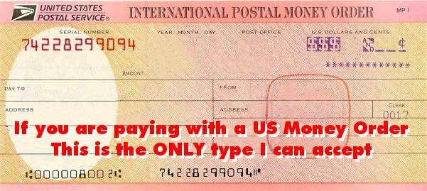 International Postal Money Order Accepted