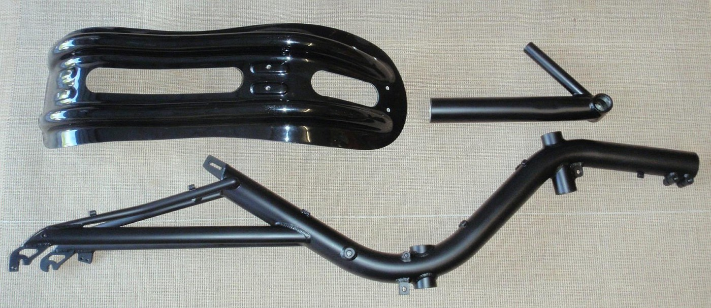 Seat, front boom and aluminium frame