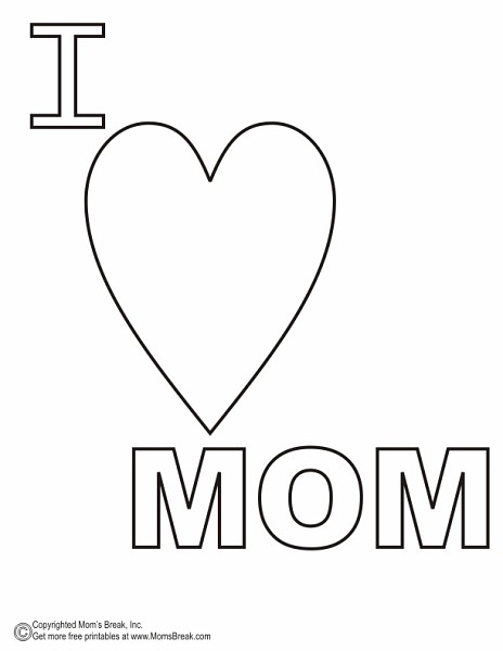 i heart mom coloring pages - photo#6