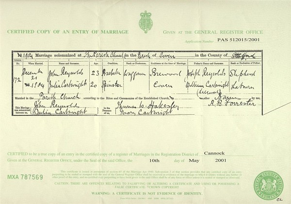 JOHN REYNOLDS AND JULIA CARTWRIGHT MARRIAGE CERTIFICATE